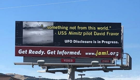 UFO disclosure billboard in Montana on Highway 12 near Helena